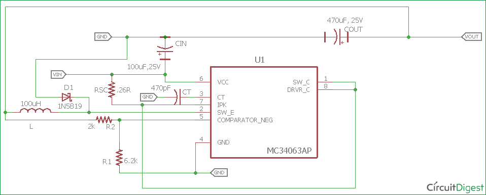 12V to 5V Buck Converter Circuit Diagram with values
