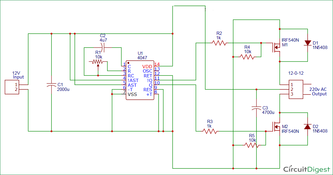 100 watt 12v DC to 220v AC Inverter Circuit Diagram