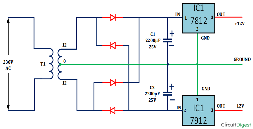 dual output transformer wiring diagram +12v and -12v dual power supply circuit diagram