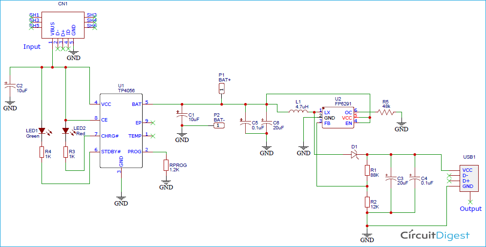 18650 Lithium Battery Charger and Booster Circuit Diagram