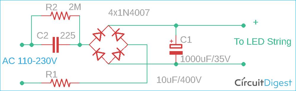230V AC LED Driver Circuit Diagram