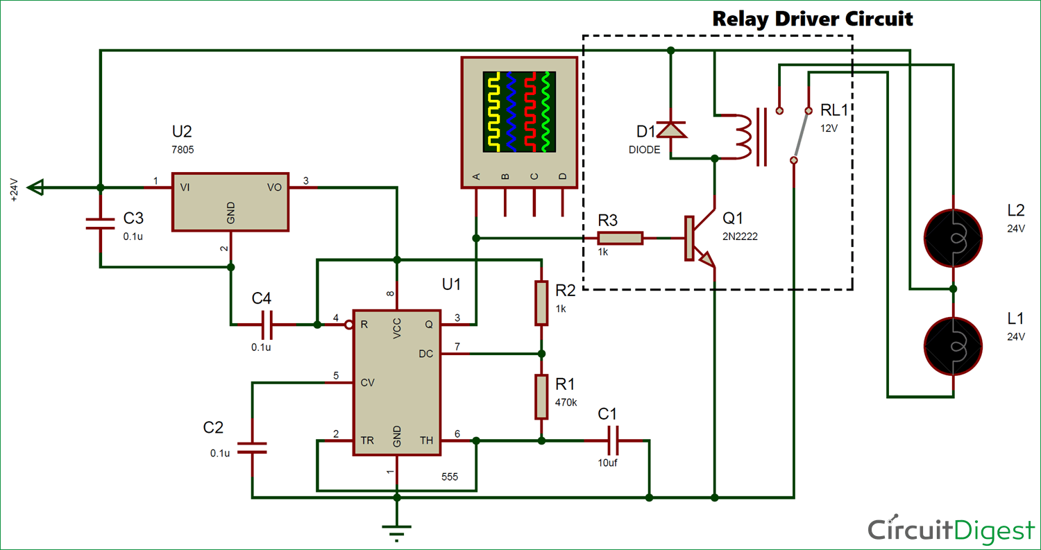 24v Flasher Circuit Diagram Led Flashers Circuits And Projects 24