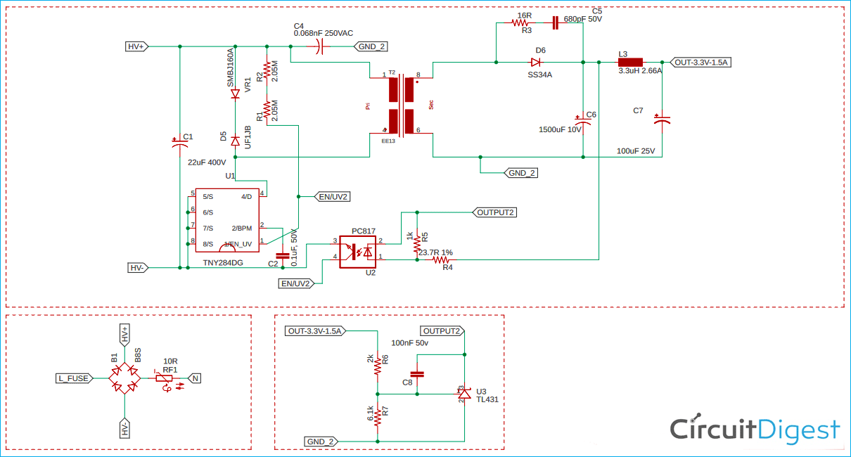 Compact 3.3V/1.5A SMPS Circuit Schematic