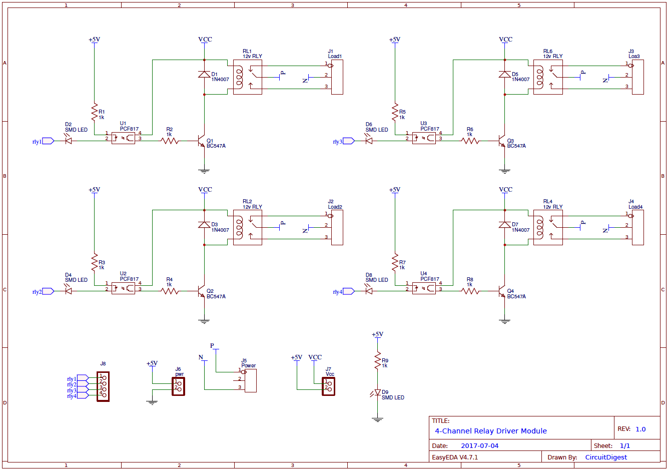4Channel Relay Driver Circuit Diagram on PCB