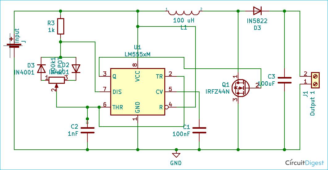 555 Timer Boost Converter Circuit Diagram