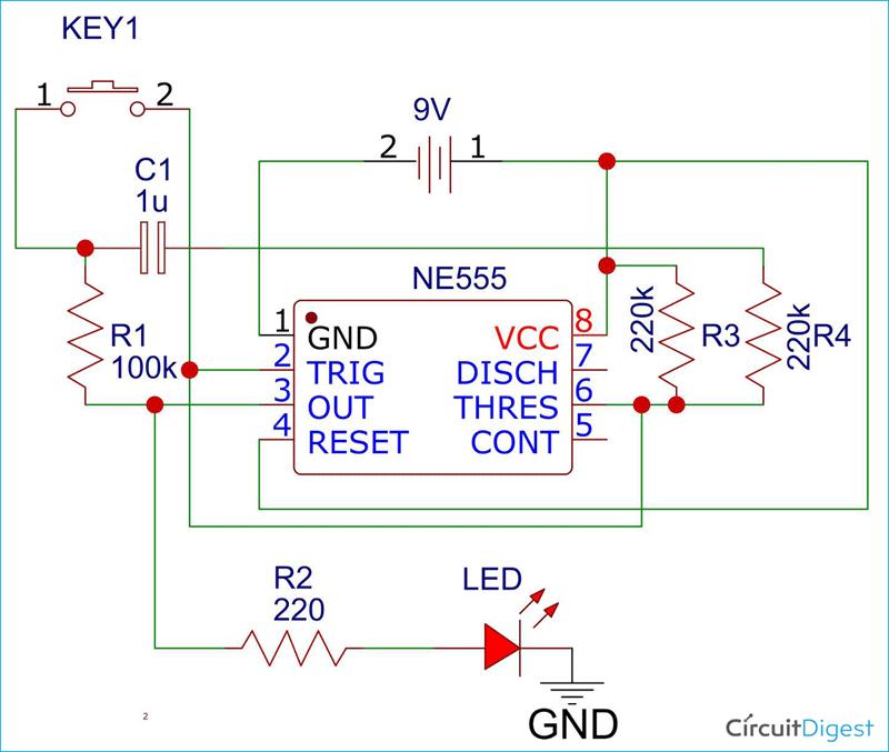 555-Timer Latch Circuit Diagram