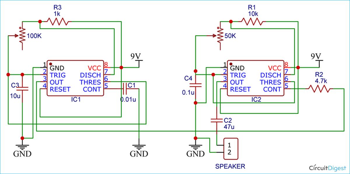 555-Timer based Police Siren Circuit Diagram