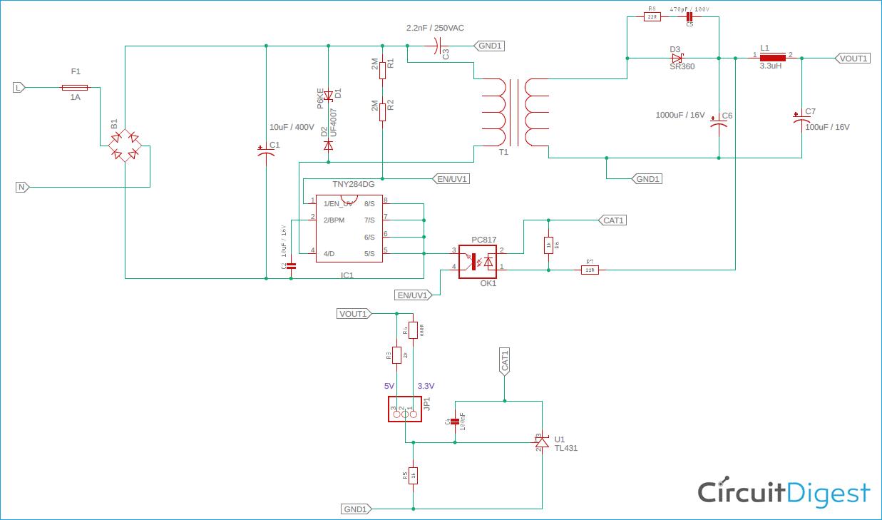 5V 3.3V SMPS Circuit Diagram