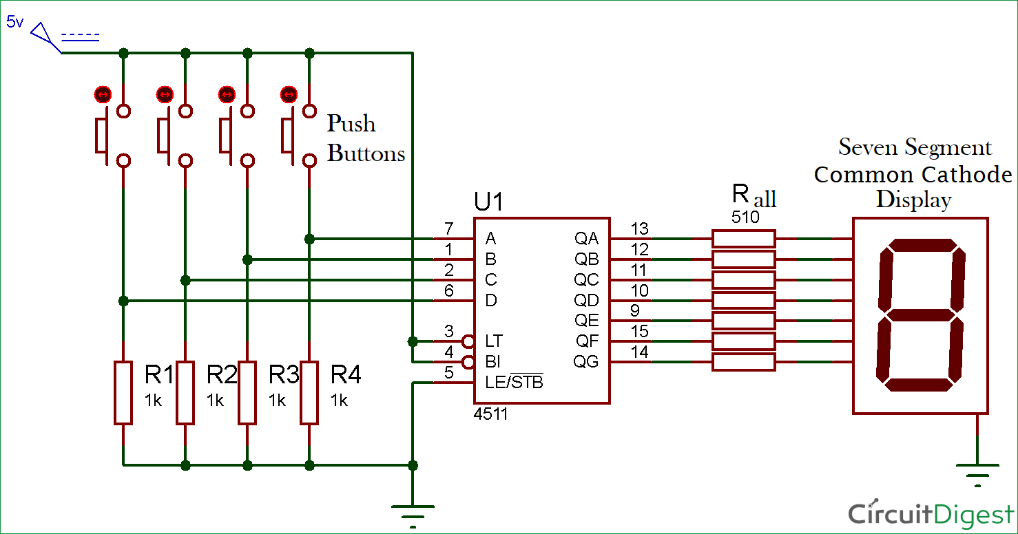 driving a 7 segment display using a bcd to 7 segment driver ic cd4511 rh circuitdigest com