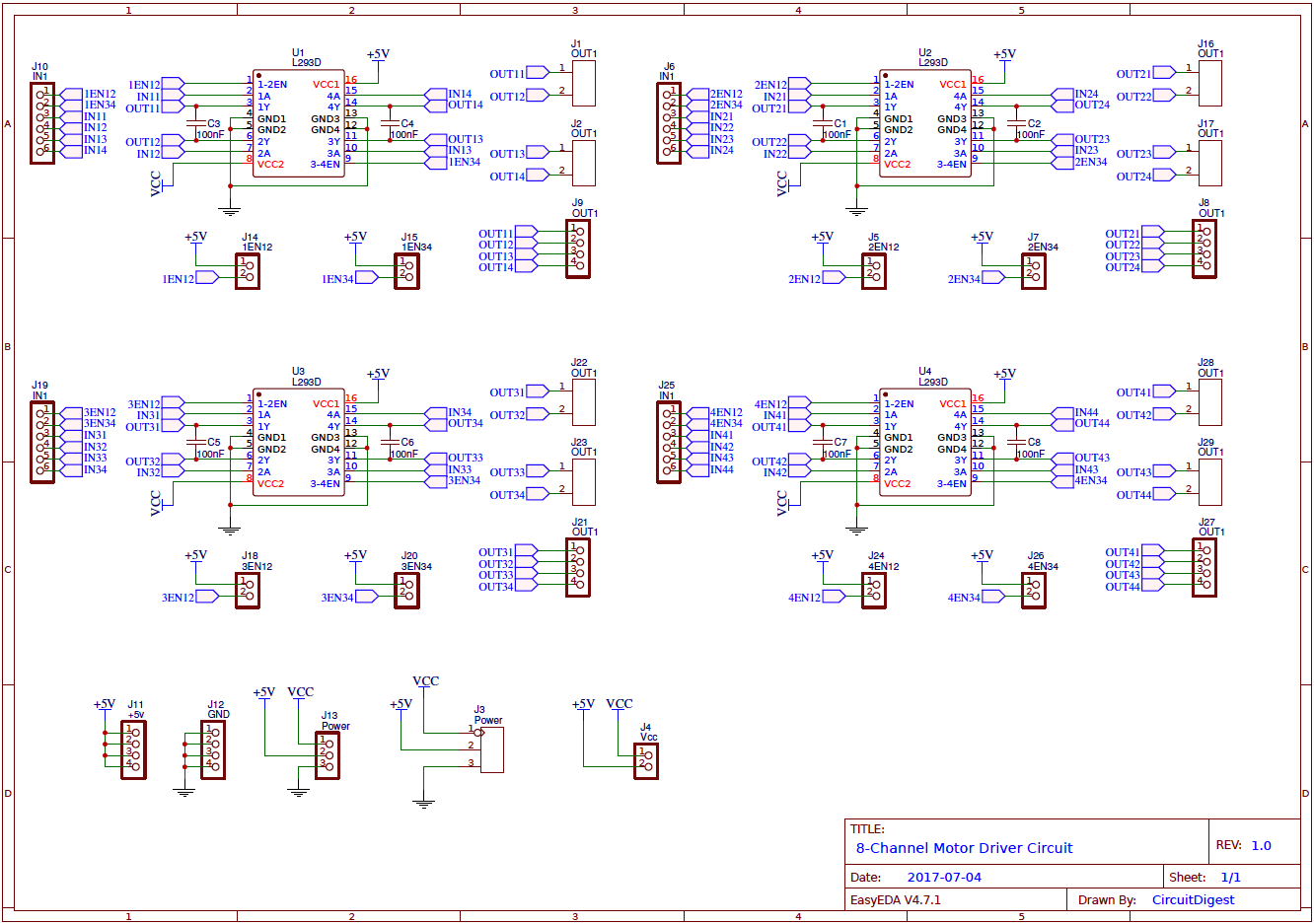 8 Channel Motor Driver Circuit On Pcb Based Dc Speed Controller Electronic Circuits Free Module Diagram