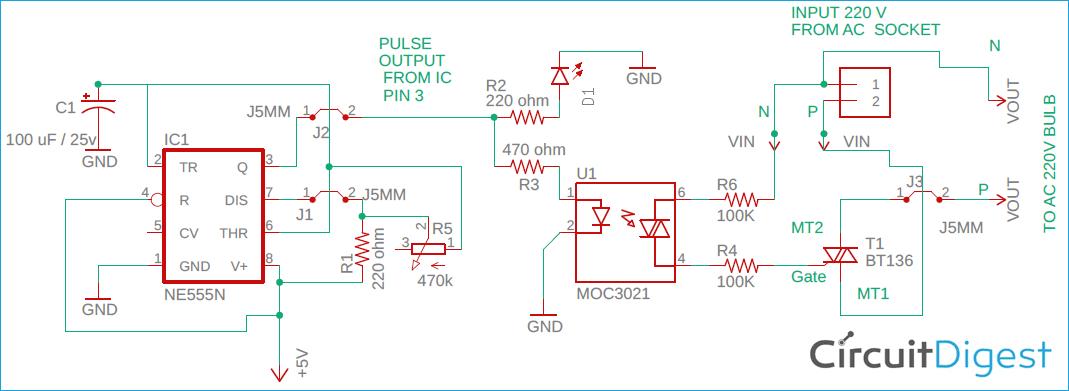AC Bulb Blinking Circuit Diagram