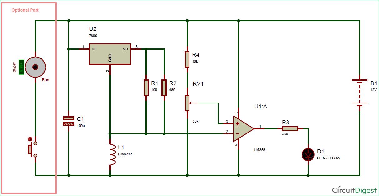 Simple Air Flow Detector Circuit Diagram