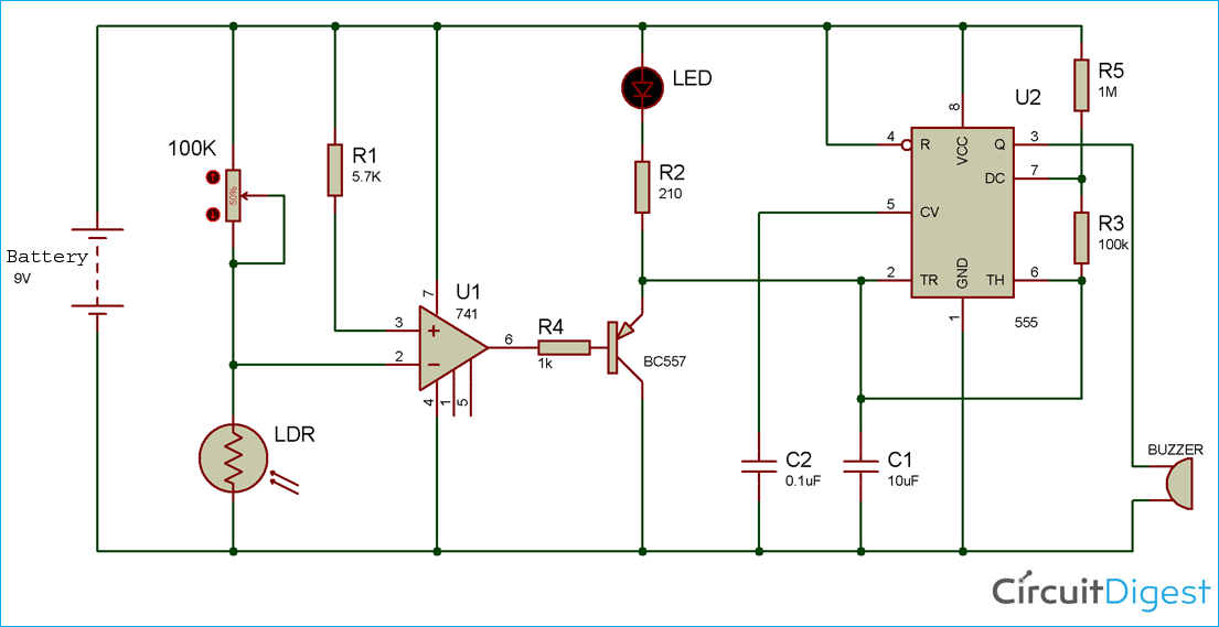Automatic Light Fence Circuit Diagram with Alarm on