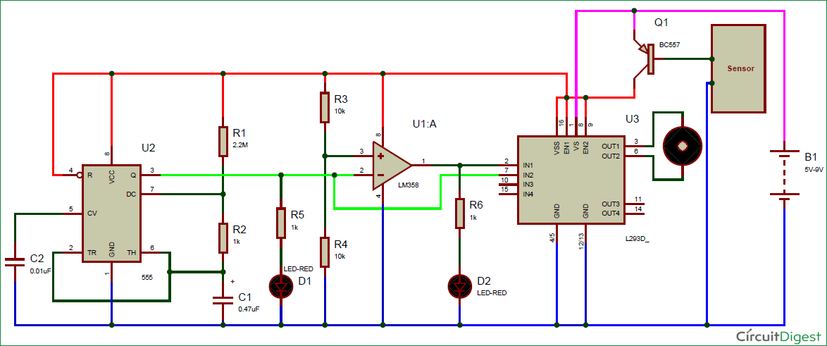 Automatic Rain Sensing Wiper using 555 Circuit Diagram