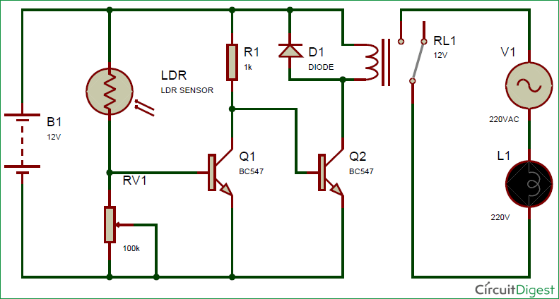 Automatic Street Light using LDR and relay circuit diagram