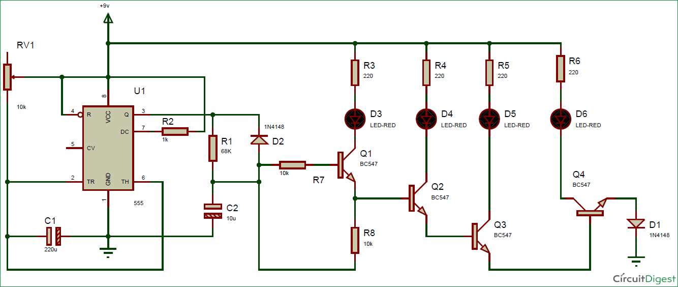 Wiring Diagram For Indicators On Cars : Bike car turning signal indicator circuit using timer ic