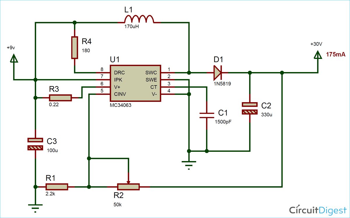 DC to DC Boost Converter Circuit Diagram using MC34063