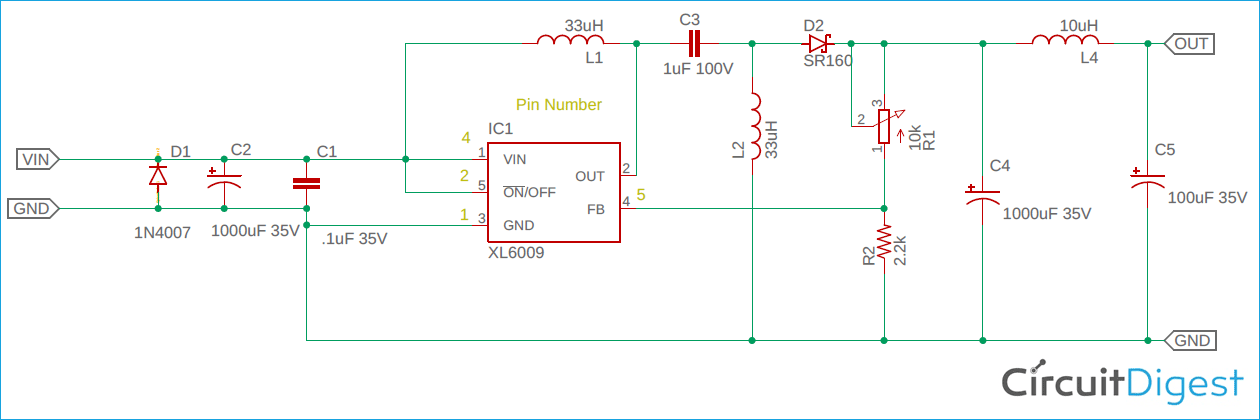 Buck Boost Converter Circuit using XL6009