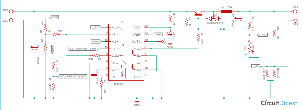 TL494 Buck Converter Circuit Diagram