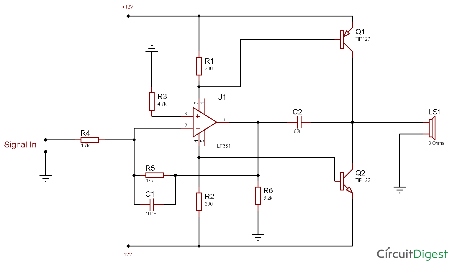 Circuit Diagram for 10 Watt Audio Amplifier using Op-Amp and Power Transistors