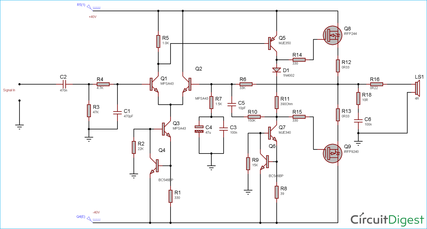 Circuit Diagram for 100 Watt Power Amplifier Circuit using MOSFET