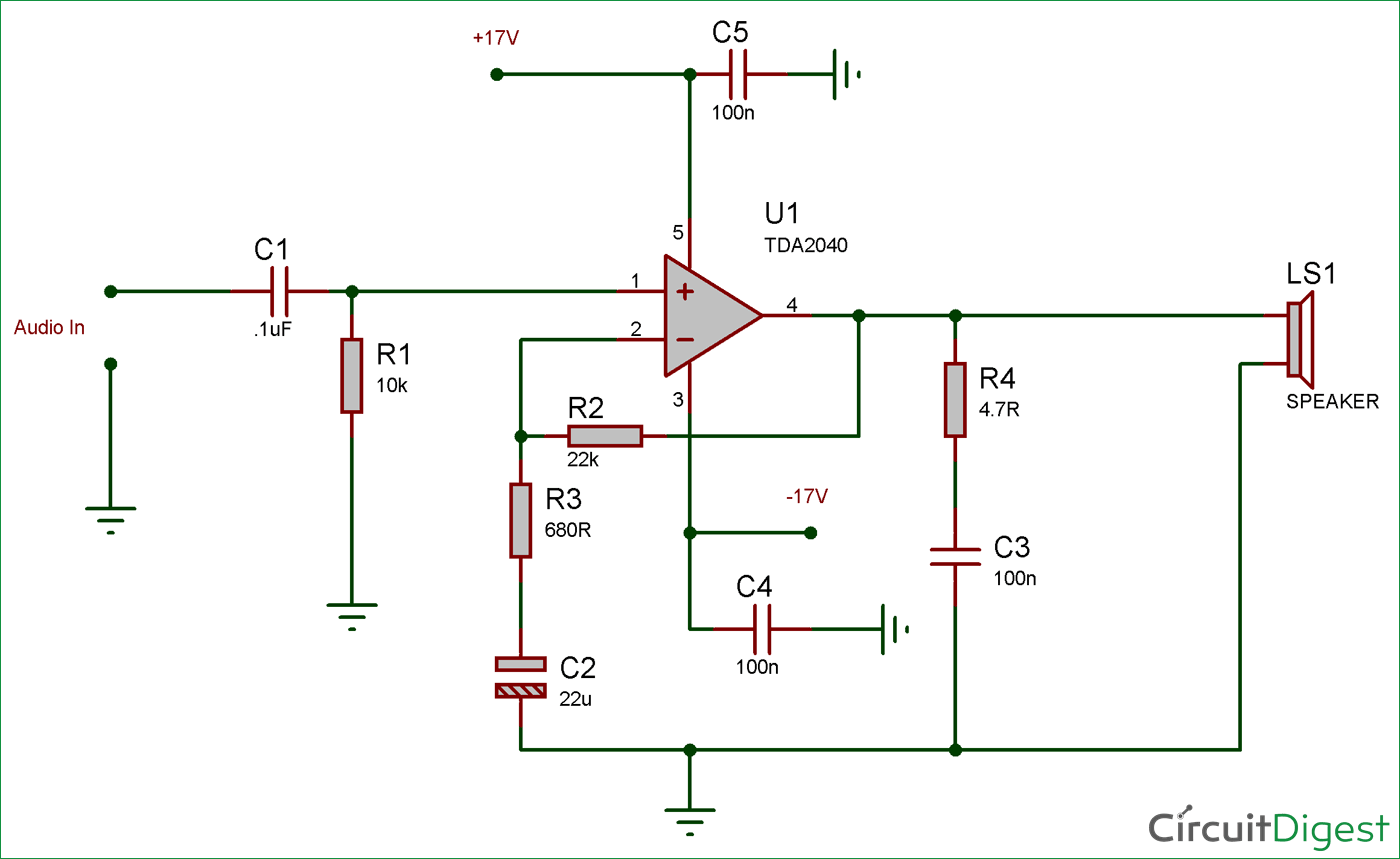 Circuit Diagram for 25 Watt Audio Amplifier Circuit using TDA2040