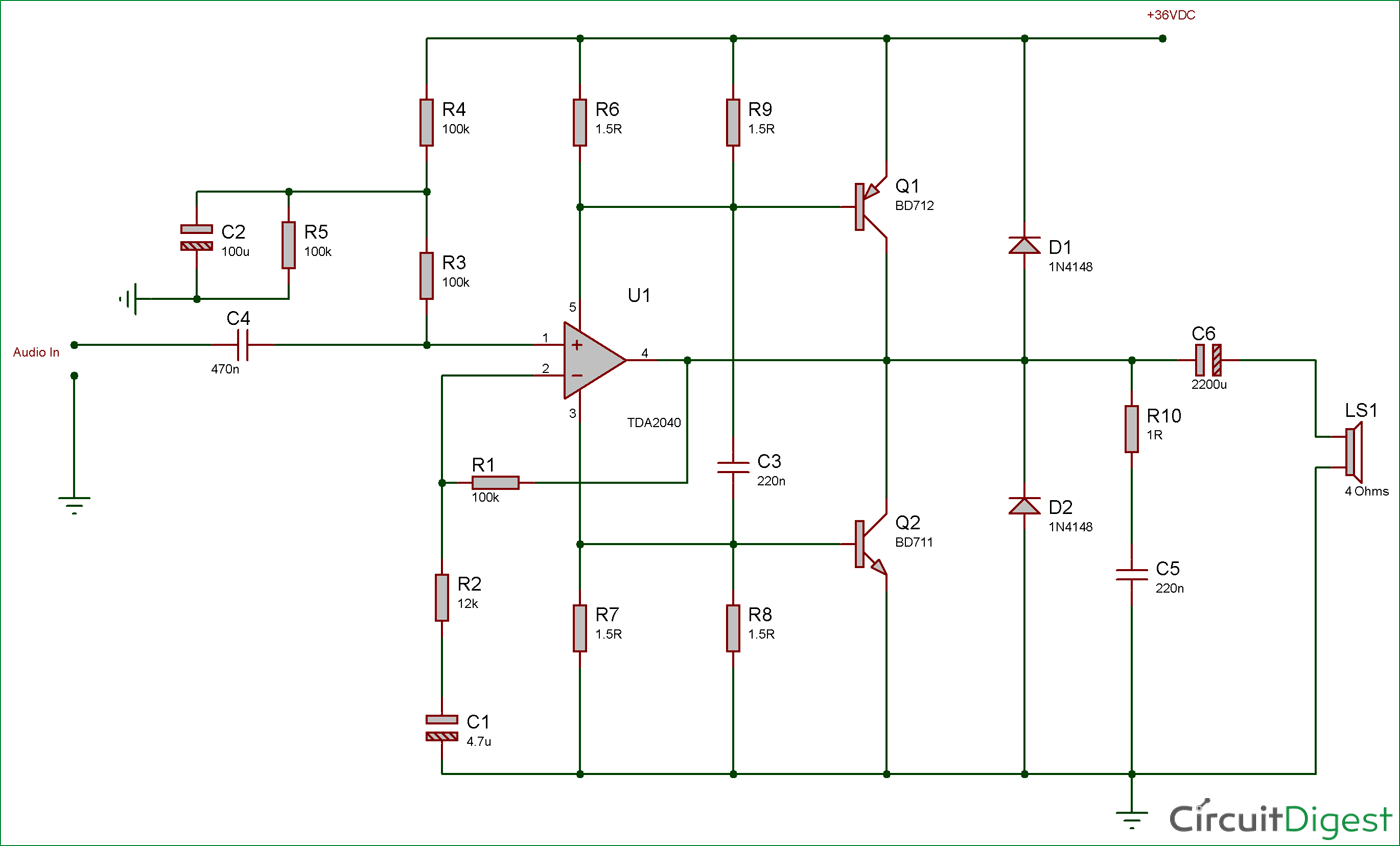 40 Watt Audio Amplifier Circuit Diagram Using Tda2040 And
