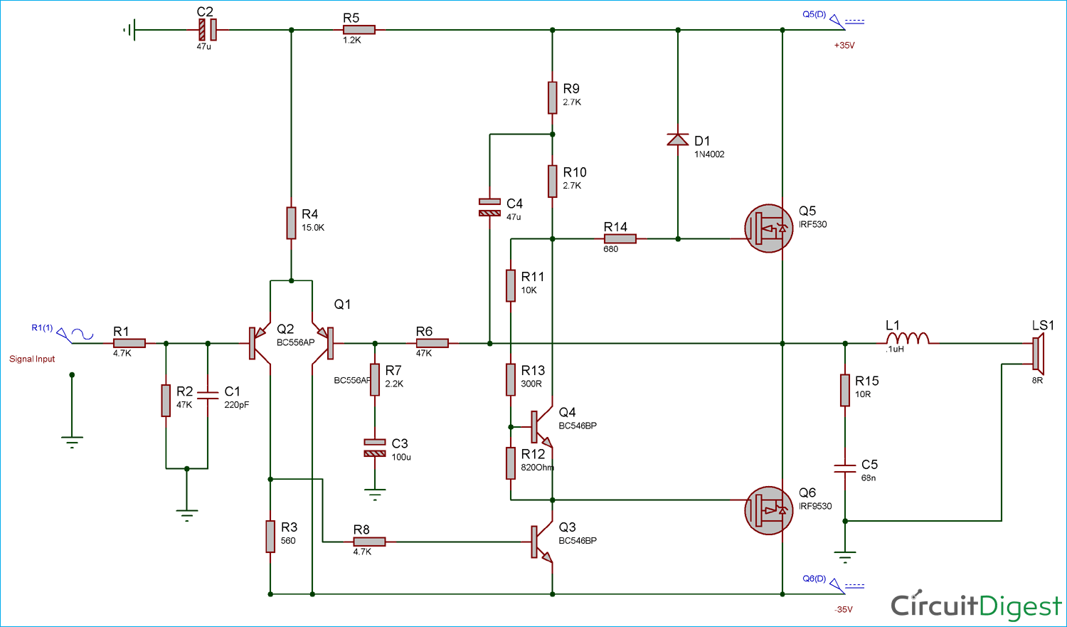 Circuit Diagram for 50 Watt Power Amplifier using MOSFETs