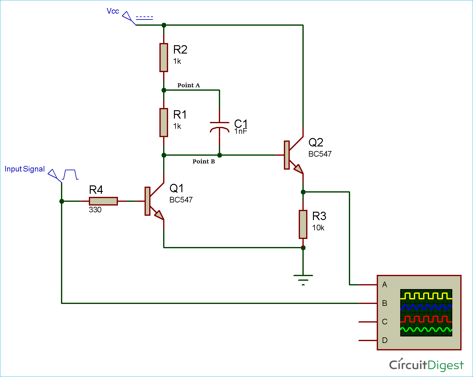 Circuit Diagram for Bootstrap Amplifier Circuit using Transistors