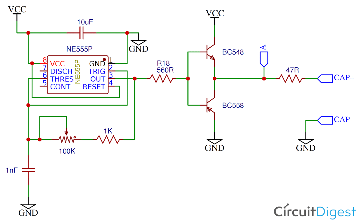 Capacitor ESR Meter Circuit Diagram using 555 Timer