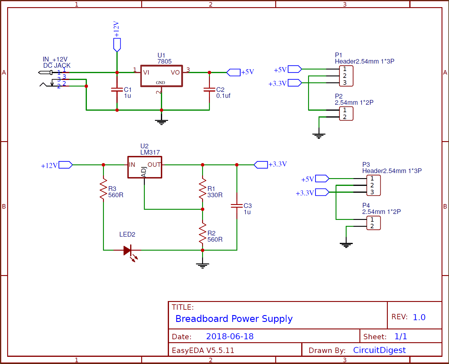 Circuit Diagram for DIY Breadboard Power Supply Circuit on PCB
