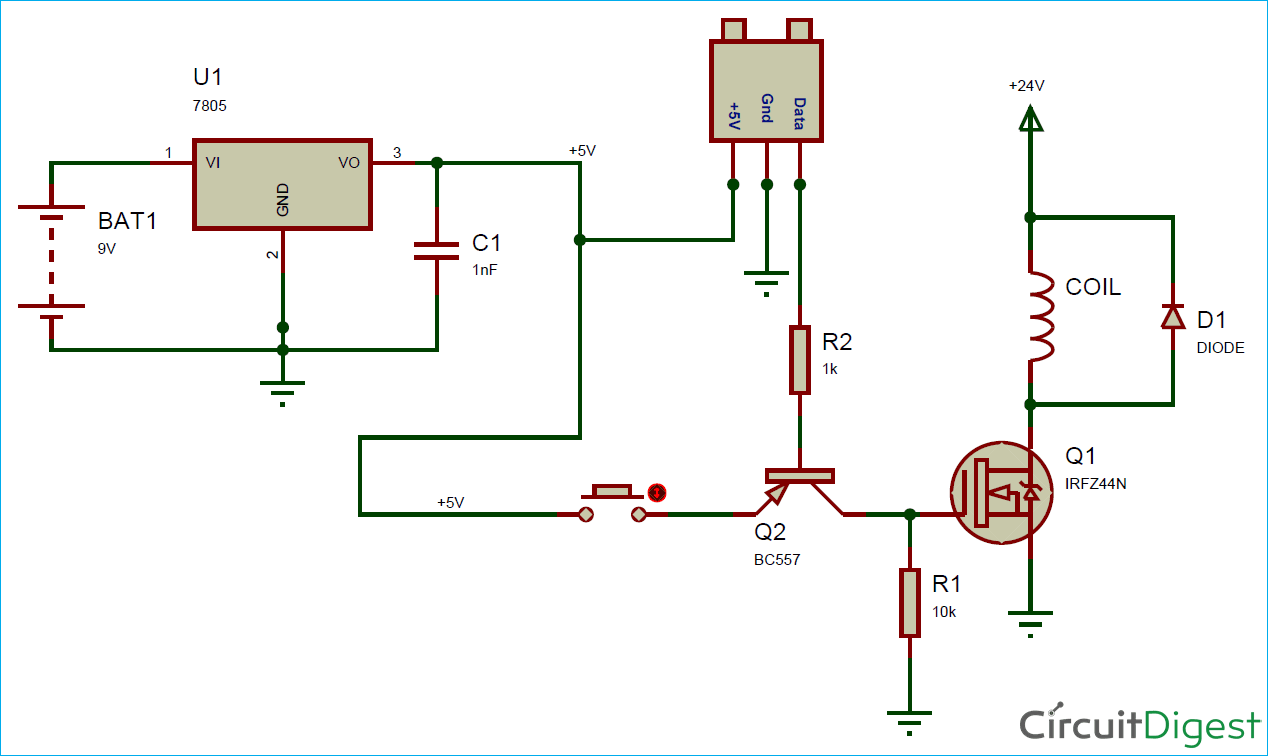 Circuit Diagram for Electromagnetic Coil Gun