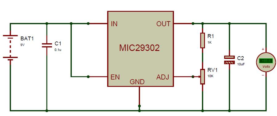 High Current Low Dropout Voltage Regulator Circuit Diagram