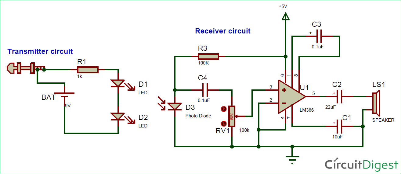 Circuit Diagram for IR based Audio Transmitter and Receiver Circuit