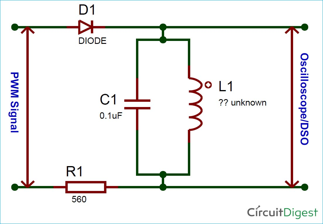 Circuit Diagram for Inductance and Capacitance Calculator using Oscilloscope