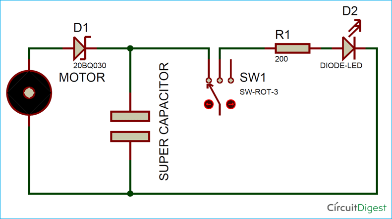 Circuit Diagram for Mechanically powered Emergency Flashlight
