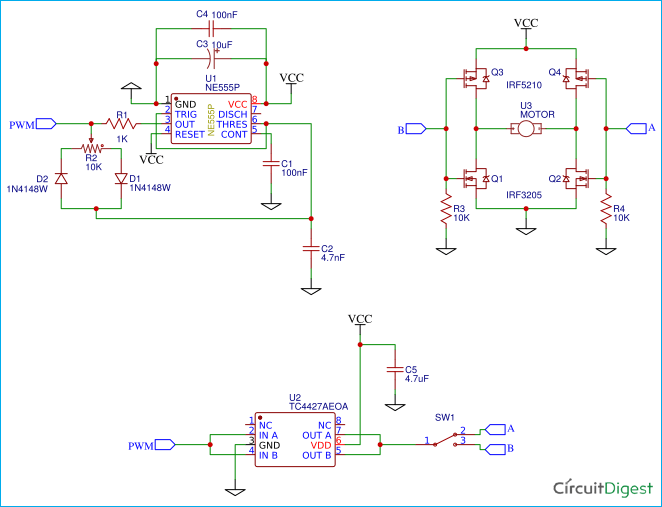 Simple H    Bridge    Motor Driver    Circuit    using MOSFET