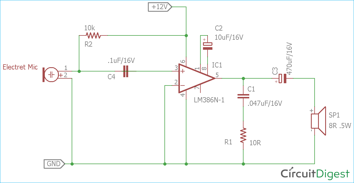 Sensational Simple Microphone To Speaker Amplifier Circuit Diagram Wiring Cloud Hisonuggs Outletorg