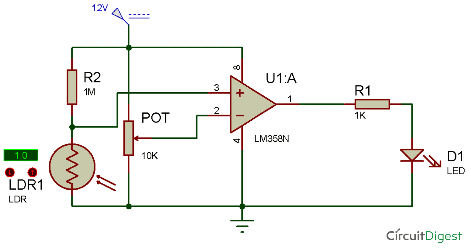 Circuit Diagram for Smart Electronic Candle using LDR