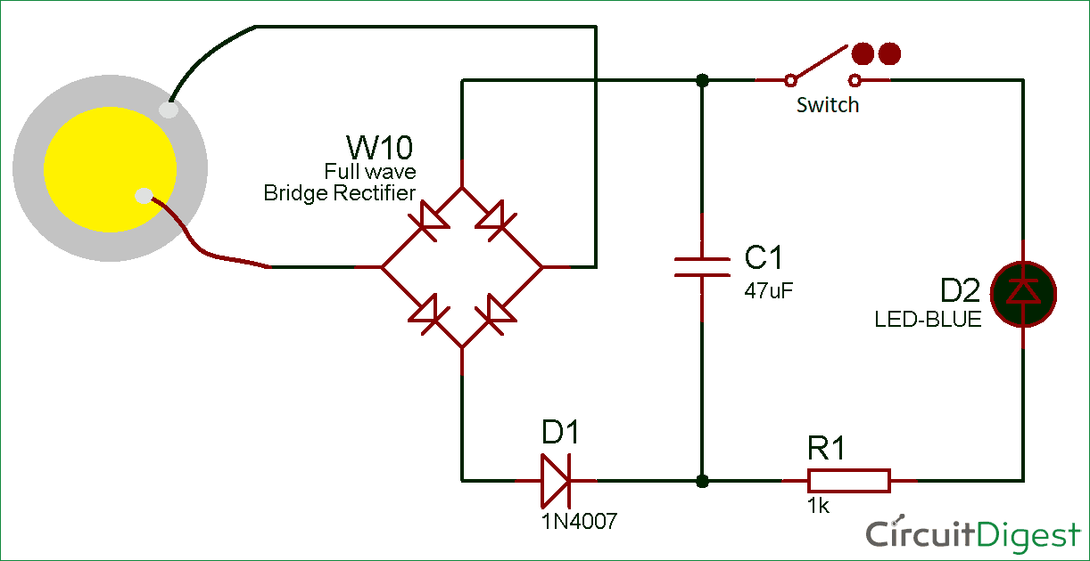 Circuit diagram for Electricity Generation using Piezoelectric Sensor