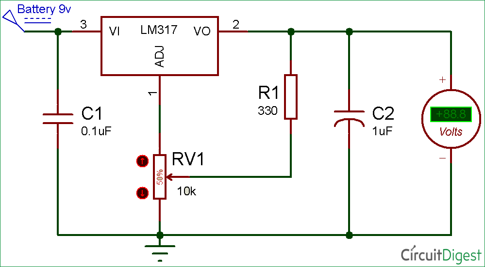 lm317 variable voltage regulator circuit diagram rh circuitdigest com lm317 voltage regulator circuit calculator lm317 voltage regulator circuit