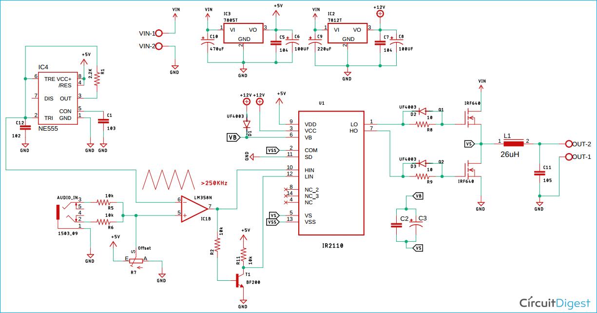 Class D Audio Amplifier Circuit Diagram