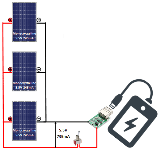 DIY solar mobile phone charger circuit diagram