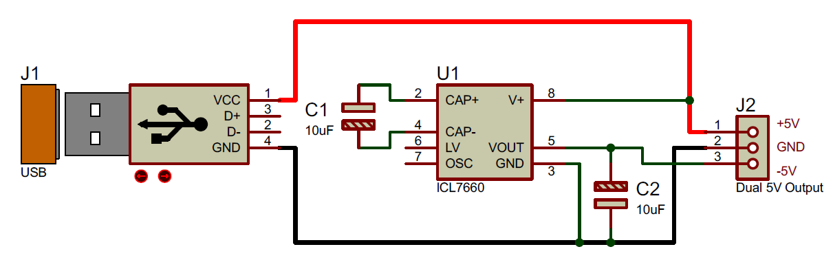 +5V and -5V Dual Power Supply Circuit