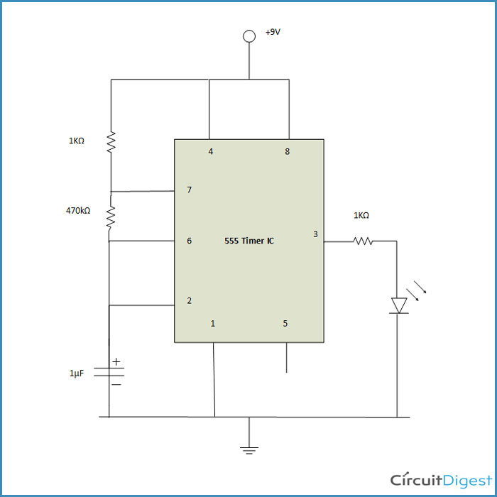 flashing led circuit diagram using 555 timer icflashing led circuit diagram