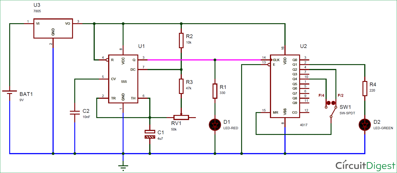Frequency Divider Circuit Diagram Using 555 Timer And Cd4017 Astable Multivibrator Ne Ic