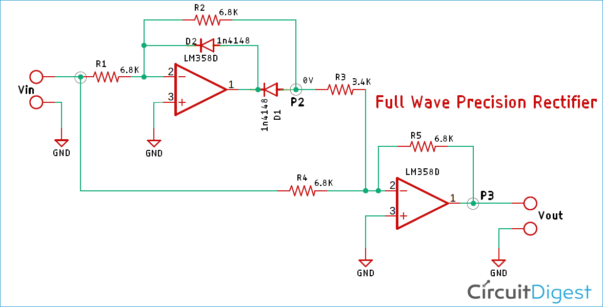 Full-Wave Precision Rectifier using Op-Amp Circuit Diagram