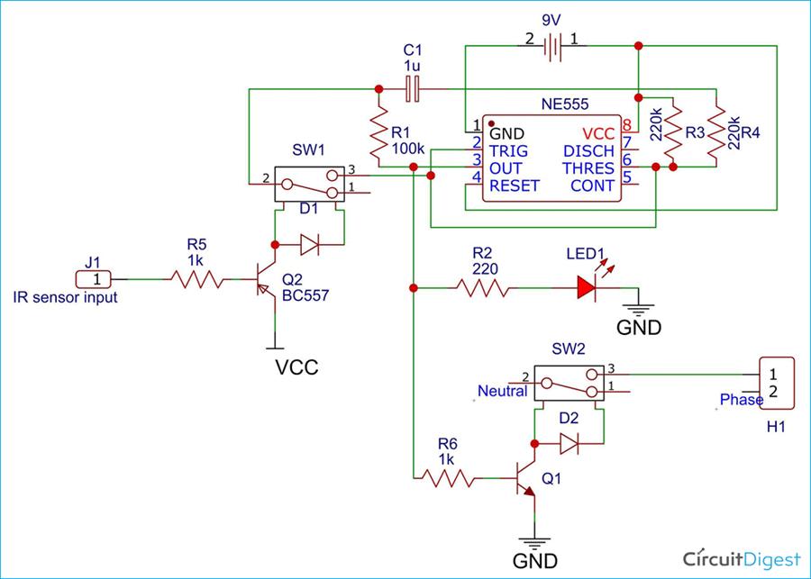 555 Timer Motion Detector Circuit Diagram