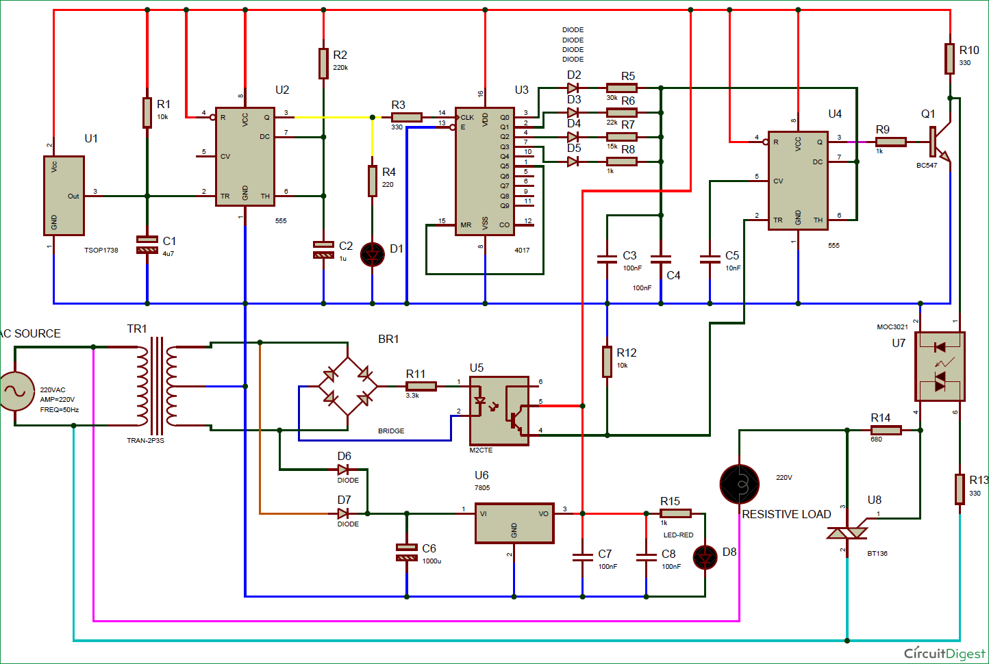 Ir Remote Controlled Triac Dimmer Circuit Diagram Fan As Well 220v Motor Wiring On Table Ac Light