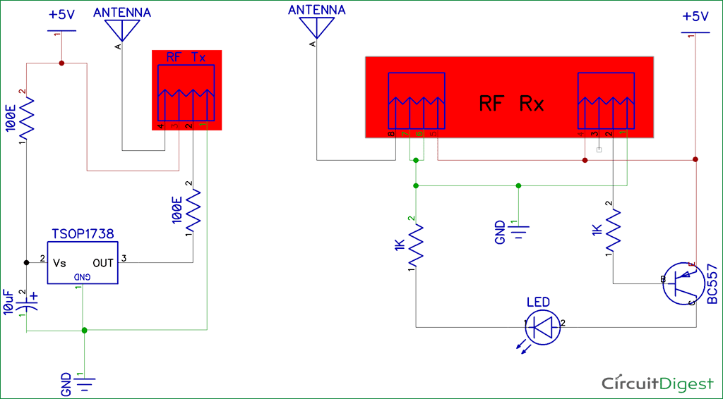 IR to RF Converter    Circuit       Diagram